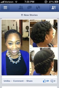 Beautiful natural hair bun: I need to learn how to do this.