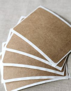 12 for $1.57    They measure a whopping 2″ x 3″ and are thick and sturdy!   They are great for scrapbooking, card making, gift wrapping, rubber stamping, as address labels, trendy name tags, or even cut or punch out a design for a custom kraft sticker.   They are extremely versatile as they can be made to look vintage, rustic or modern.