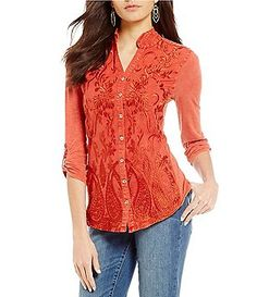 4728ccc59a3 Reba Anesia Mandarin Collar Roll-Tab Sleeve Embroidered Woven Knit Top Lace  Inset