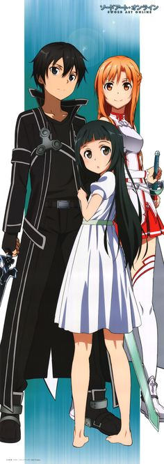 Sword Art Online, Kirito, Yui, and Asuna. Jeeze, seriously the only Anime to make me enjoy a relationship (read: scream at tv constantly during the second half of season one) Anime Chibi, Manga Anime, Film Manga, Fanarts Anime, Manga Art, Kirito Asuna, I Love Anime, Awesome Anime, Online Anime