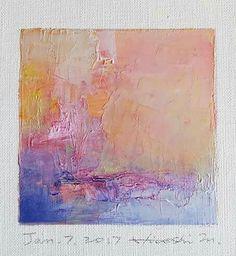 "Jan. 7, 2017 9 cm x 9 cm (app. 4"" x 4"") oil on canvas © 2017 Hiroshi Matsumoto"