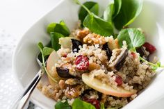 Quinoa, Roasted Eggplant, and Apple Salad with Cumin Vinaigrette Recipe by Giada De Laurentiis @gdelaurentiis http://www.giadadelaurentiis.com/recipes/141/quinoa-roasted-eggplant-and-apple-salad-with-cumin-vinaigrette