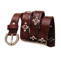 100% Genuine Leather belts for women High quality Crystal cintos femininos ceinture Women belt