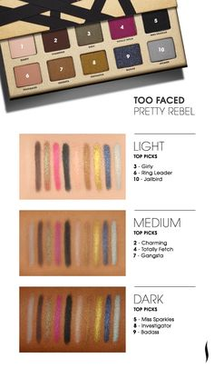 Too Faced Pretty Rebel Eyeshadow Palette #swatches #Sephora