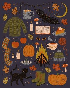 'Autumn Nights' Poster by Camille Chew A cozy, spooky, fall inspired. Halloween Tags, Fall Halloween, Halloween Poster, Halloween Inspo, Vintage Halloween, Cute Fall Wallpaper, Autumn Phone Wallpaper, Fall Leaves Wallpaper, Halloween Wallpaper Iphone