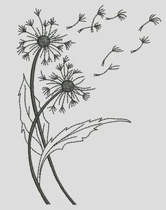 Hand Embroidery Patterns Free, Embroidery Flowers Pattern, Free Motion Embroidery, Embroidery Hoop Art, Ribbon Embroidery, Machine Embroidery Designs, Dandelion Tattoo Design, Dandelion Designs, Dandelion Drawing