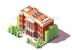 Buy Vector Isometric University Building by on GraphicRiver. Vector isometric old university or college building University Life, Monster University, Architectural Floor Plans, My Candy Love, Building Illustration, City Model, Isometric Design, Game Art, Adobe Illustrator