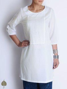 White Pintuck Detailed Tie-Up Cotton Tunic by Jaypore Indigo Dye, Cotton Tunics, Pin Tucks, Kurti, Kids Fashion, Tunic Tops, Tie, Stylish, My Style