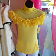 Yellow Ruffles Top Yellow mock neck blouse with sheer top and stretch cotton bottom Gracia Tops Blouses