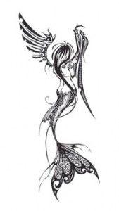 Tribal tattoo of a mermaid. #TattooModels #tattoo