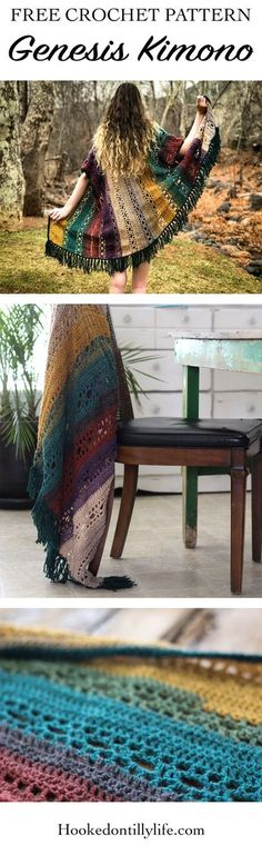 free crochet pattern, genesis kimono, DIY, easy summer crochet, colorful, easy to follow, rustic design, lightweight, fringe, boho, bohemian, boho crochet