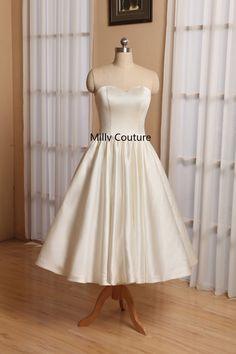fairy dress short wedding, mod wedding dress, short wedding dresses satin, simple wedding dresses tea length, 1950's vintage wedding dresses