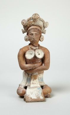 Late Classic Maya Seated man/whistle in the form of a seated male with elegantly fixed hair | Princeton University Art Museum