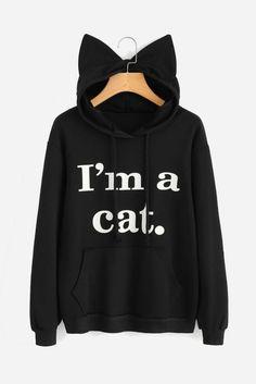 Cheap women sweatshirt, Buy Quality hoodie sweatshirt directly from China sweatshirt cat Suppliers: Women Sweatshirt Cat Slogan Print Cat Ear Kawaii Hoodie Sweatshirt 2017 New Black Print Cute Pullovers Long Sleeve Casual women hoodies hoodies Kawaii Hoodie, Mode Kawaii, Sports Hoodies, Kawaii Clothes, Cat Ears, Hooded Sweatshirts, Long Sleeve Tops, Short Sleeves, Black Print
