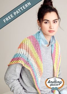 Enhance your outfit with this lovely triangular shawl with really gorgeous colorful stripes. Best of all this an easy project that is ideal for beginners. | Discover over 4,500 free knitting patterns at theknittingspace.com #knitpatternsfree #springknits #springknittingprojects #fallknits #fallknittingpatterns #dailyaccessory #giftideas #DIY Fall Knitting Patterns, Free Knitting, Knitting Projects, Knitted Shawls, Easy Projects, Free Pattern, Crochet, Knit Shawls, Simple Projects