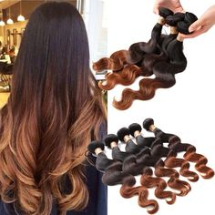 50g/Bundle 100% Human Hair Extension Hot Sell Body Wave 1b/4/30# Ombre Hair Weft #WIGISS #HairExtension