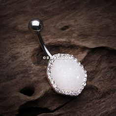 White Crystal Druzy Sparkle Belly Button Ring