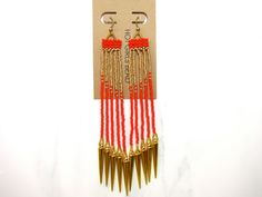 Handmade Red and Gold Spike Dangle Peyote Earrings by SeedDreams, $50.00