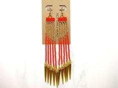 Handmade Red and Gold Spike Dangle Peyote Earrings by SeedDreams, $50.00