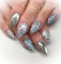 """#Radiant"", ""Ride the Rails"" and ""Relay Grey"" with Chrome 🌪💎 #nails#kelowna#gelnails#sculptedgel#lesliesgelnails#naildesign#pretty#cute#nailart#kelownagelnails#sculptedgelnails#nailsoftheday#kelownanailtech#winternails#marblenails#chrome#chromenails#marble#marbling#silver#silvernails#grey#greynails#sparkleynails#stiletto#stilettonails"