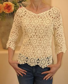 Crocheted motiff sweater. by ExclusivesbyRasa on Etsy, $90.00