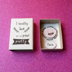 Cute matchbox I love your face Sweet love card Small