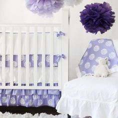 Periwinkle Bloom Baby Bedding Set by New Arrivals Inc., Crib Bedding Sets, Bedding for Girls Purple Baby Bedding, White Crib Bedding, Baby Girl Nursery Bedding, Baby Bedding Sets, Baby Cribs, Baby Room, Girl Room, Lilac Nursery, White Nursery