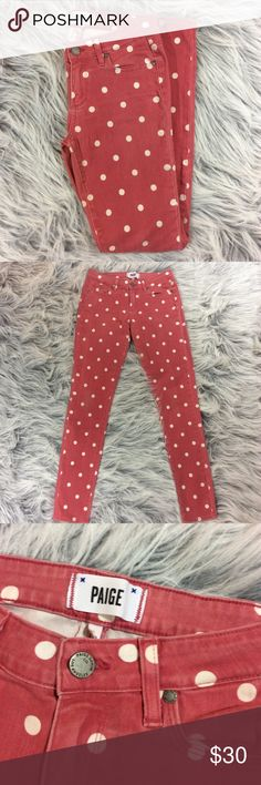 """Paige Verdugo Super Skinny Polka Dot Jeans Paige Pink Polka-Dot Jeans. Women's size 28, in excellent preowned condition. Only """"flaw"""" is some fading but these are still vibrant and in great condition. Measurements are approximately waist 27"""" around, inseam 29"""", leg opening 8"""" around. Paige Jeans Jeans Skinny"""