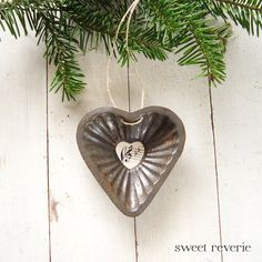 Rusty Vintage Fluted Heart Tart Mold with Sheet Music - Christmas Holiday Ornament. Now available in my Etsy shop, asweetreverie.etsy.com. $5