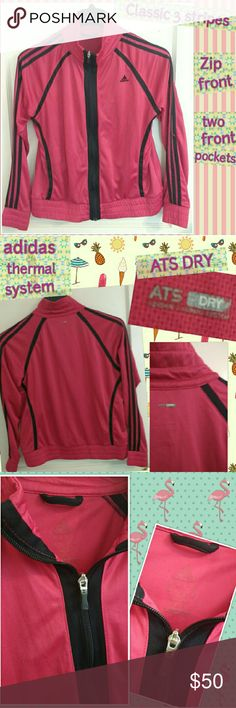 """Old School Adidas Classic 3 stripes Track Jacket Definitely a classic!  Beautiful hot pink Adidas track jacket with black trim. Made from very lightweight and breathable fabric (ATS DRY), zips in front and has two side pockets.  No stains or rips, however; there are quite a bit of small snags (see last pic) though they aren't very noticeable when wearing.  Size tag has faded , but it is a size large and measures approximately 19"""" across the chest (armpit to armpit).  Feel free to ask…"""