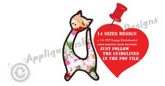 Cat Embroidery Applique Design Kitty Applique  Girls