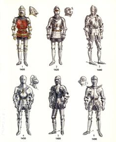 *Note: The armors displayed are just examples and a lot of variation exists in armor. The helmet in the 6th picture - an armet - was already worn in 1420-1430. Perhaps the artist just wanted to show a lot of helmet variation or he meant to portray an early close helmet which appeared around 1500.
