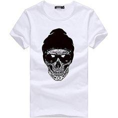 b490aae99ff93 Ulanda-EU Homme T Shirt Chemise à Manches Courtes Mode Crâne dimpression 3D  Shirt Ete Casual Lâche Haut Tops Noir Blanc Grande Taille T-Shirt Pullover  pour ...