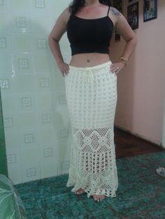 Saia Longa em Crochê - primeiro trabalho de 2014 - FRENTE