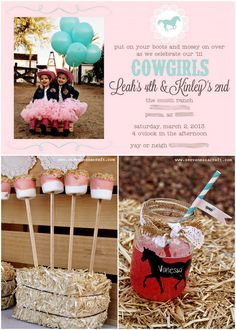 Pink and Aqua Cowgirl Themed Birthday Party!. So cute!!