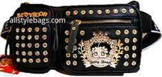 Cheap Betty Boop Bling black crown Rhinestone sport large pocket waist work…