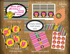 Little miss matching birthday printables (invitation not included). $18.00, via Etsy.