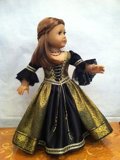 Black and Gold Renaissance Doll Dress 2012 Couture Collection  - fits 18 inch American Girl Style Doll - 5. $64.99, via Etsy.