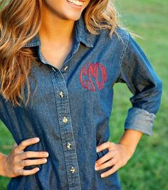 Cute monogrammed jean shirt!!!! Absolutely love this!
