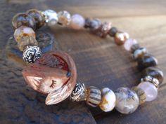 Sleepy Fox Bracelet Artisan Polymer Bead by FeminineGenius on Etsy