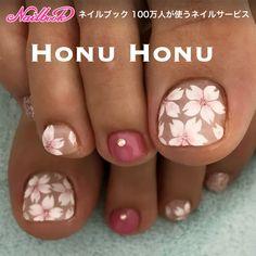 #桜 #フットジェル #ピンク #シンプル|ネイルデザインを探すならネイル数No.1のネイルブック