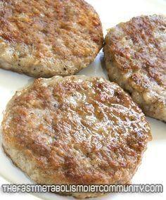 Skinny Breakfast Sausage – Phase 3. Ingredients: 1 pound lean ground chicken, 1/2 teaspoon garlic powder, 1/2 teaspoon freshly ground black pepper