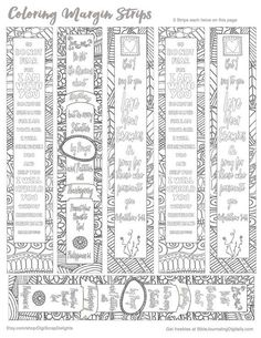Printable Coloring Bible Journaling Margin Strips Zentangle for Wide Bible…
