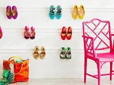 Hang molding on the walls to create a pretty shoe display - 33 Clever Ways To Store Your Shoes
