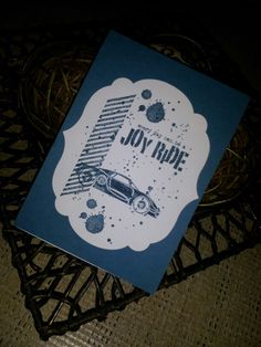 Rev Up the Fun Stampin Up - Note book cover for a male. Hand crafted by Kelly Ninyette 2013