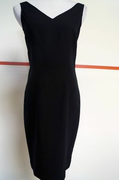 CHETTA B  Black Viscose V Front & Back Lined Sleeveless Sheath Dress Sz 4 #15227