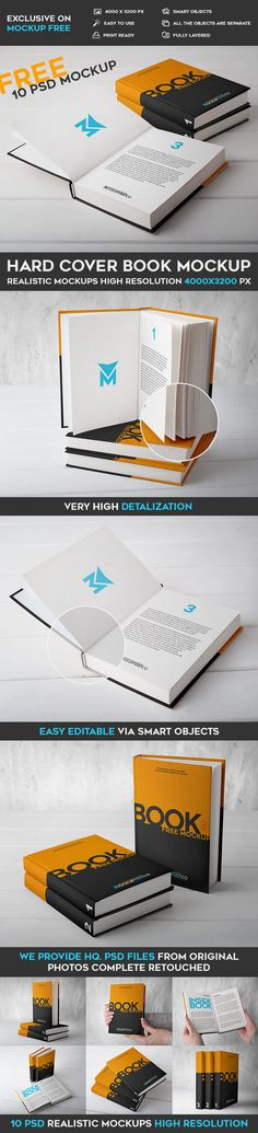 35 Free (Hard Cover) Book PSD Mockups