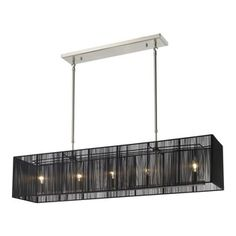 Z-Lite - Z-Lite Aura 5 Light Billiard/Island Light X-KB54-102 - The Aura family of linear shaded fixtures feature a stunning double line of multi faceted pyramid crystal. The string shades come in black, silver, and white, while the organza shades come in black and white. In all cases the fixtures are finished with brushed nickel hardware.