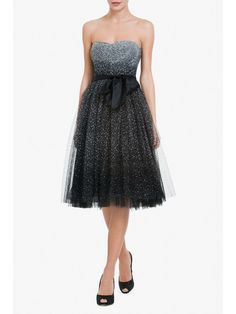 BCBGMAXAZRIA RAE STRAPLESS A-LINE COCKTAIL DRESS