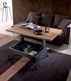 This stylish table looks like a massive block of good looking wood sitting on top of a beautifully angled and airy-looking metal frame Space Saving Furniture, Furniture For Small Spaces, Home Decor Furniture, Cool Furniture, Small Coffee Table, Coffee Table With Storage, Table Ronde Design, Refurbished Table, Table Palette